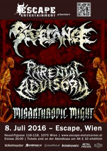 Severance, Parental Advisory, Misanthropic Might - Escape - Wien